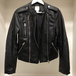 H&M Faux Leather Biker Jacket in Black Size 2